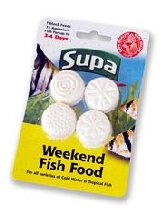 Weekend Fish Food : Four in a pack, each block feeding up to 15 fish, for 3/4 days : Supa